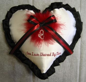 marabou heart shaped pillows