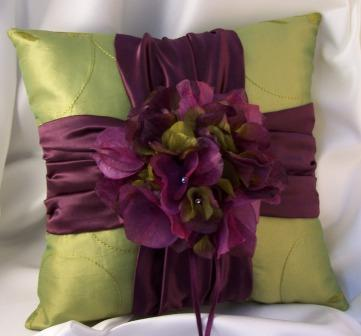 silk hydrangea ring pillow