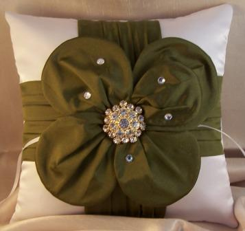 dupioni silk flower ring pillow